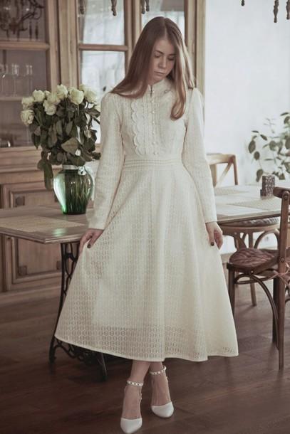 Off White Long Sleeve Dress