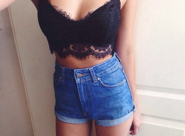 Black bralette lace top crop tops tank top shirt festival outfit top shorts blue shorts ...