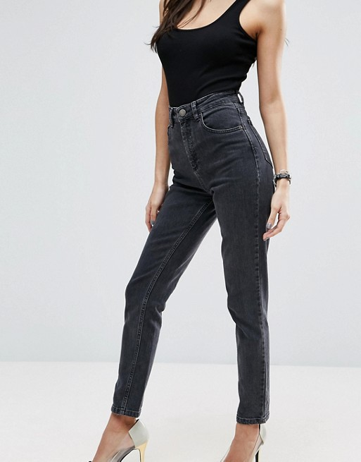 ASOS DESIGN Farleigh high waist slim mom jeans in washed black at asos.com