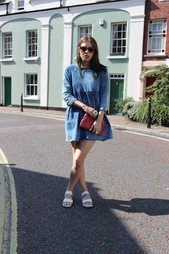 shoes bag red bag sandals white sandals denim dress dress mini dress blue dress sunglasses summer dress summer outfits all denim outfit
