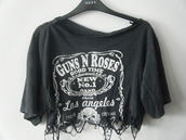 t-shirt,guns and roses,shirt,band t-shirt,band,punk rock,rock,hipster punk,blouse,oversized t-shirt,black,ripped,crop tops,tshirt fashion,top,jack daniel's
