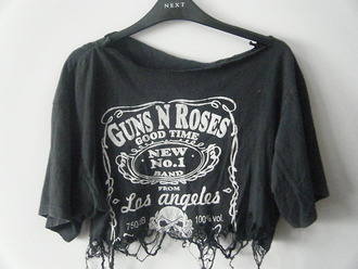 t-shirt guns and roses shirt band t-shirt band punk rock rock hipster punk blouse oversized t-shirt black ripped crop tops tshirt fashion top jack daniel's