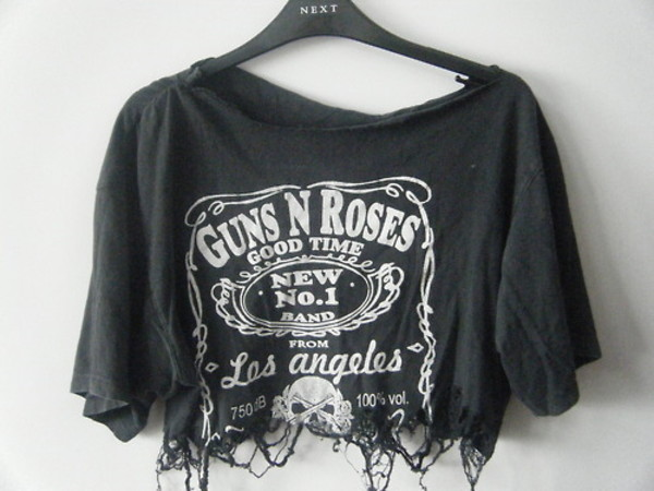t-shirt guns and roses shirt guns and roses band t-shirt band punk rock rock hipster punk blouse oversized t-shirt black ripped crop tops tshirt fashion top jack daniel's