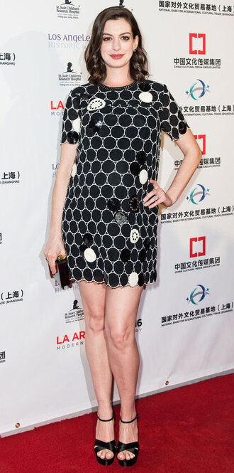 dress mini dress anne hathaway maternity maternity dress platform sandals shoes