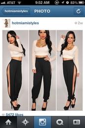 pants,black,slit,black side slit trousers