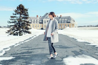 prosecco and plaid blogger pants grey coat silver shoes