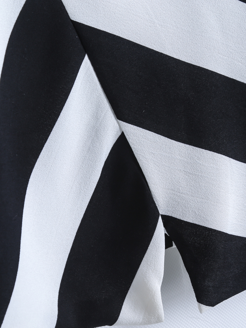 Black White Asymmetrical Striped Chiffon Vest - Sheinside.com