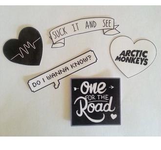 stickers arctic monkeys heart pins rock band merch