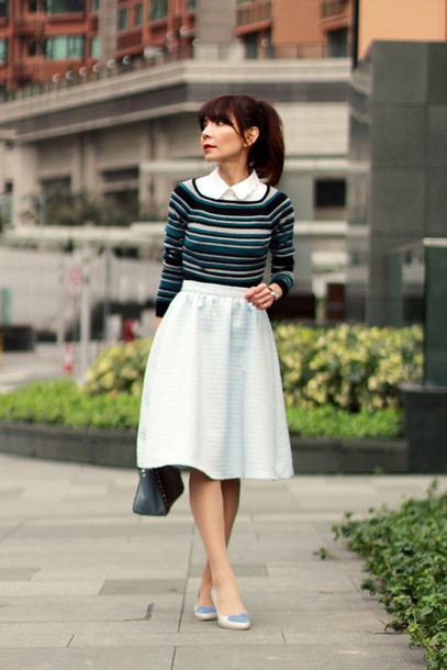 mochaccinoland blogger skirt midi skirt striped sweater retro t-shirt top bag shoes