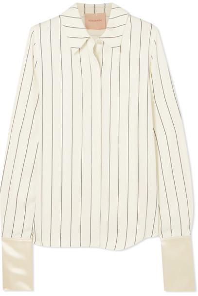 Roksanda shirt white satin off-white top