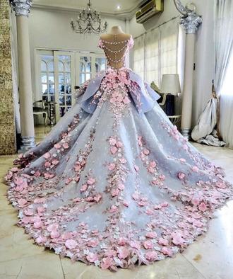 dress blue dress floral dress gown wedding dress princess dress prom dress glamour