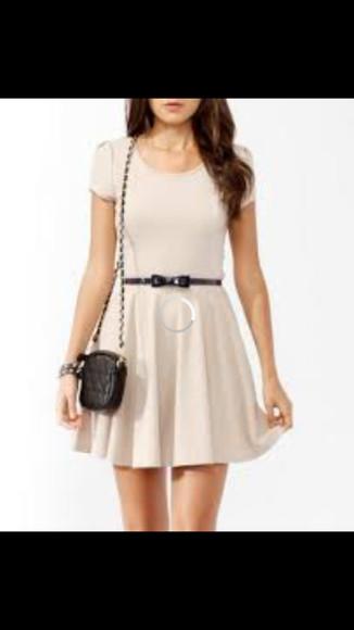 dress beige dress black belt white dress bow belt bows Belt