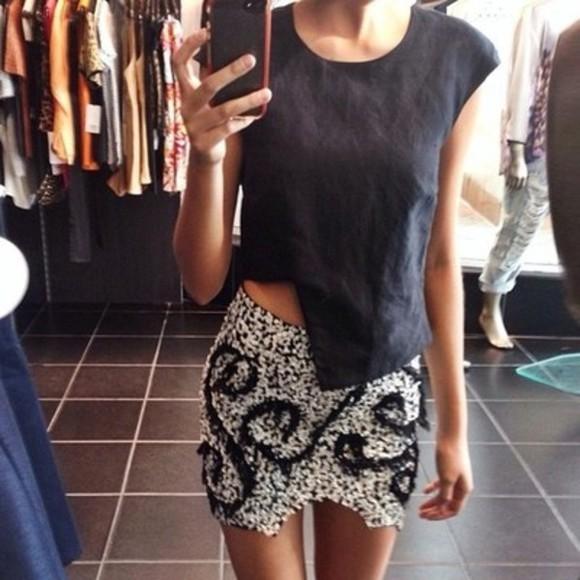 skirt black skirt cut shirt black shirt white skirt patterned skirt black top lovely mini skirt cute chic