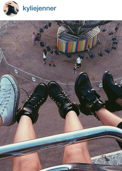 shoes boots ankle boots lace up ankle boots black leather boots kylie jenner