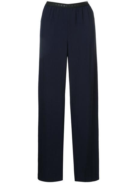 Zambesi - pleated wide leg trousers - women - Triacetate - 12, Blue, Triacetate