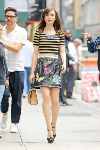 skirt top stripes striped top lily collins mini skirt platform sandals