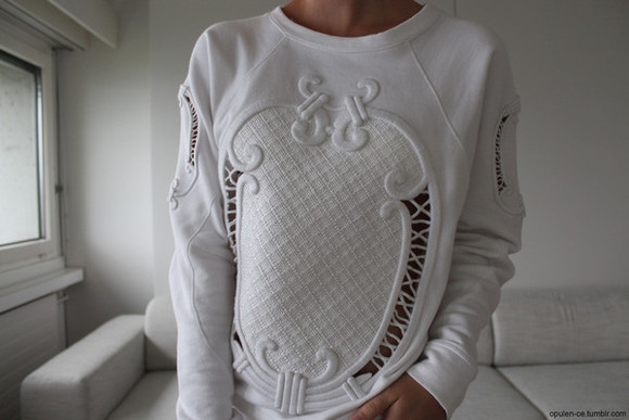 chanel sweater white tumblr dope swag see through transparent cool vogue cute