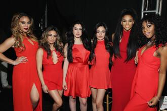dress fashion week 2015 fifth harmony red red dress ciara