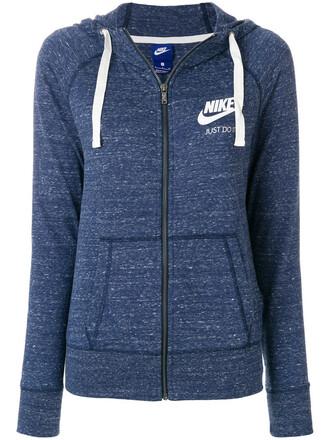 hoodie vintage women gym cotton blue sweater