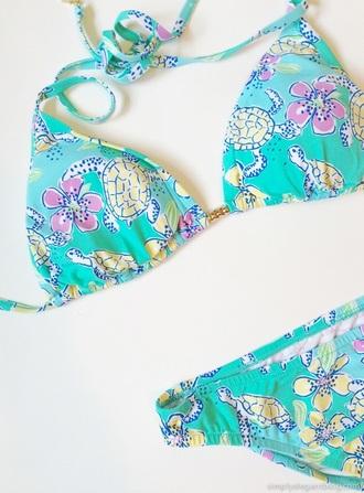 swimwear bikini green swimwear turtle yellow swimwear beach