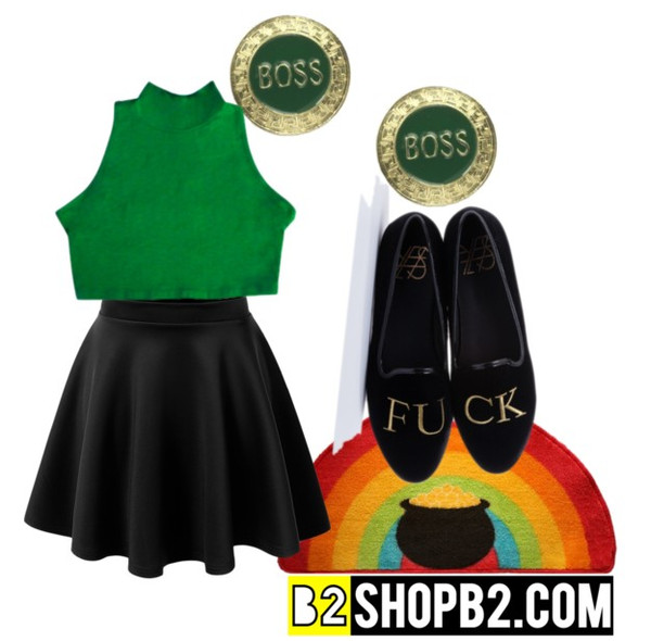 t-shirt green st patrick's day earrings polyvore skater skirt boss turtleneck st patrick's day crop tops black skater skirt fuck off ysl outfit