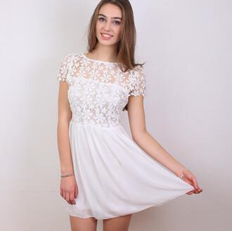 dress summer dress skater dress white dress floral dress lace dress floral lace