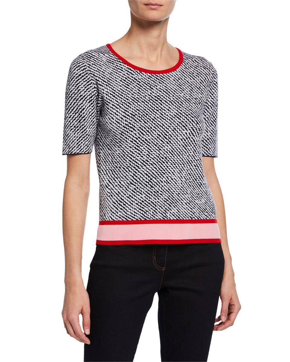 Short-Sleeve Zigzag-Print Sweater