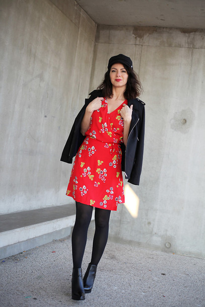 estelle blog mode blogger fisherman cap red dress floral dress