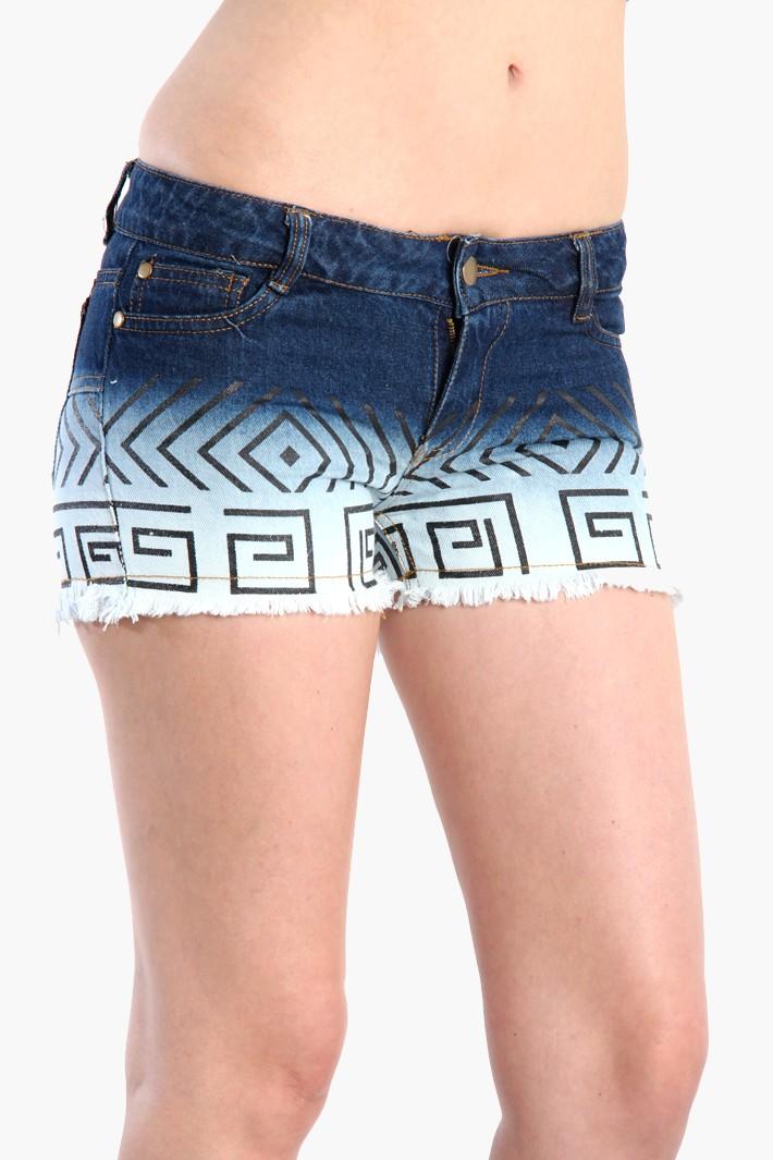 Aztec print denim cutoff shorts