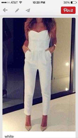 shirt white romper pants white jumpsuit dress white onsie jumper suit heart bunny underwear jumpsuit