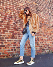 jacket,tumblr,fur jacket,camel,faux fur jacket,denim,jeans,blue jeans,cropped jeans,shoes,gold sneakers,sneakers,sunglasses,white sunglasses