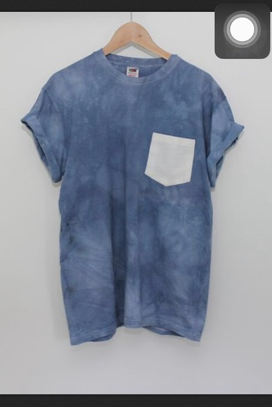 t-shirt pocket white blue love lightblue tiedye cute tshirt