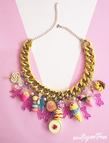 jewels unique kawaii gold chain pastel ice cream lollipop dessert maccaroons etsy japanese fashion icecream donut sweets