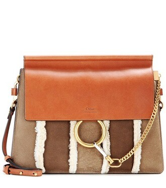 bag shoulder bag leather suede brown