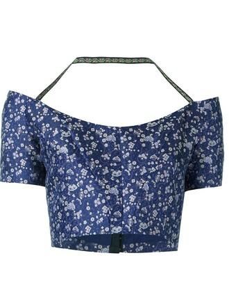 top floral blue