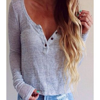 top grey casual long sleeves cool stylish women's pullover long sleeve scoop neck solid color blouse warm cozy
