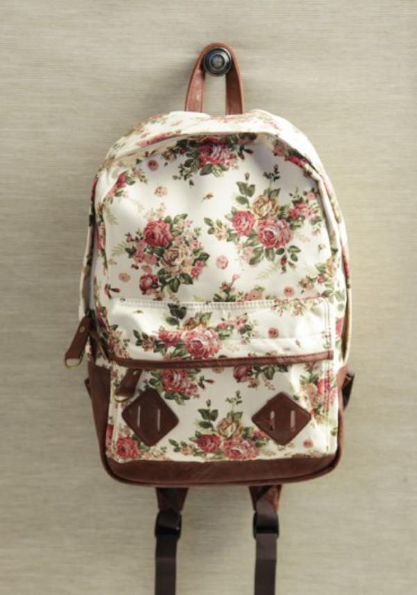 bag vintage backpack flowers back to school roses