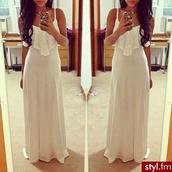 dress,beautiful,summer,nice,nice combination,withe,summer dress,summer outfits,pure lovers,white dress,maxi dress,long dress
