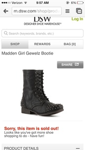 shoes,black,combat boots,steve madden,gewelz,studded,online shopping