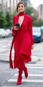 dress,red dress,red,asymmetrical,olivia culpo,boots,shoes,scarf