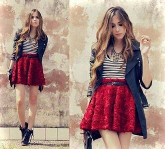 skirt red skirt mini skirt red mini skirt rose red roses black jacket black boots style red 3d roses cute cute outfits roses stripes dress