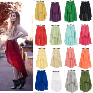 Solid Candy Colors Retro Style Slanted Asymmetric Front Short Back Long High Quality Lace Skirt | JSdailydeal