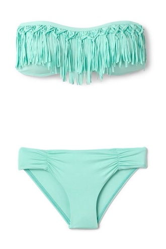 swimwear mint teal fringes fashion style perfecto two-piece