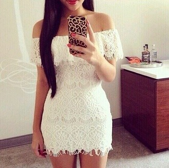 dress lace dress white dress off the shoulder dress
