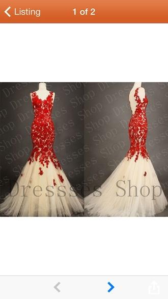 dress formal red mermaid tulle skirt floral appliqué v neck straps