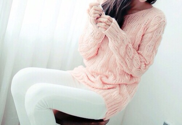 Sweater: pink sweater, cute sweaters, oversized sweater, oversized ...