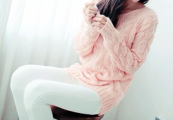 sweater pink sweater cute sweaters oversized sweater oversized sweater  pants etam 098e241c8