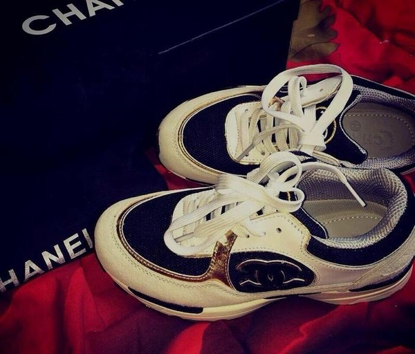shoes chanel sportswear gold black white trainers