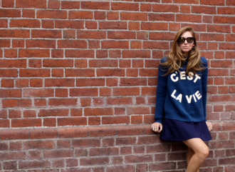 the blonde salad blogger sunglasses bag french navy