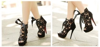 shoes black high heels lace louboutin sexy